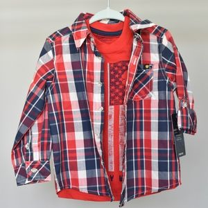 NWT Lucky Brand Flag Tee Plaid Shirt set, 2T Boys